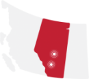 icon of alberta with calgary and edmonton highlighted