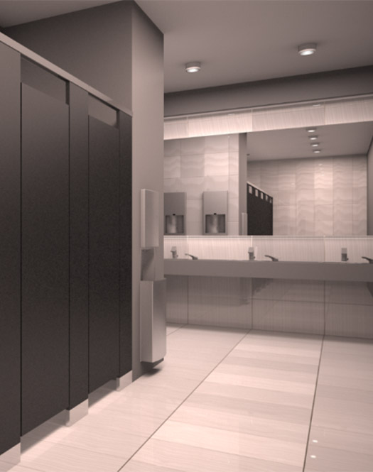 public bathroom with commercial bathroom stall doors and sinks